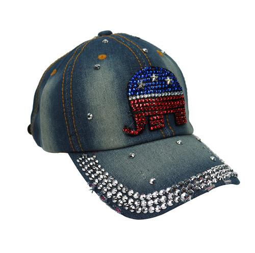 Republican Elephant Rhinestone Baseball Cap Denim Light Blue