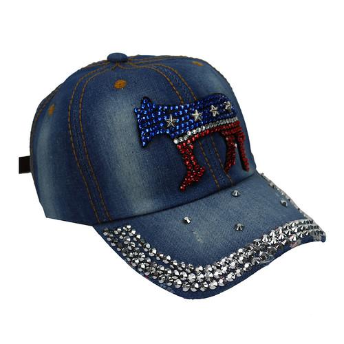Democratic Donkey Rhinestone Baseball Cap Denim Blue