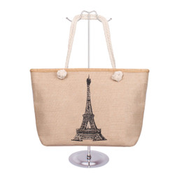 Eiffel Tower Canvas Tote Black