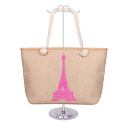 Eiffel Tower Canvas Tote Pink