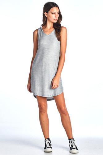 Made in USA Comfy Hooded Tank Ribbed Dress Grey Medium