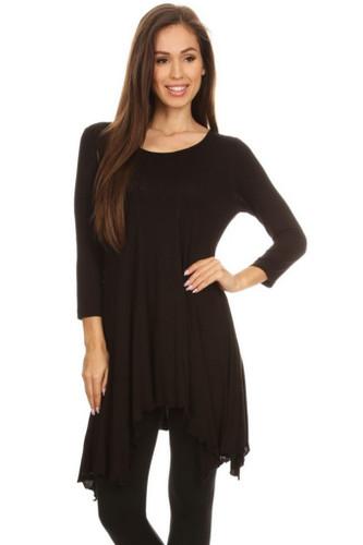 Asymmetrical Tunic Top 3/4 Sleeve Black Large