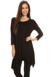 Asymmetrical Tunic Top 3/4 Sleeve Black Large
