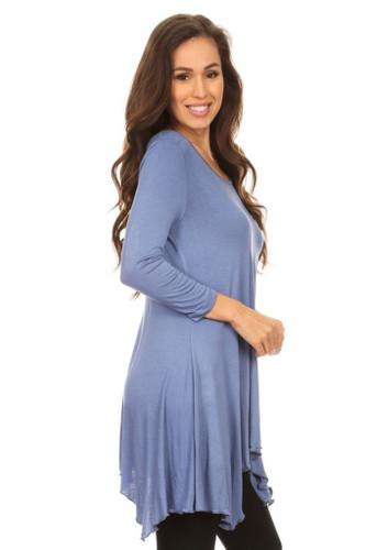 Asymmetrical Tunic Top 3/4 Sleeve Blue Large