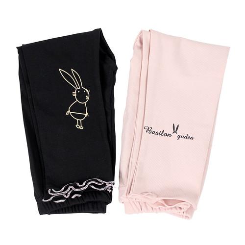 Ultra Soft Kids'Cotton Capri Bunny 2 Pack Pink/Black 4T