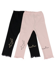 Ultra Soft Kids'Cotton Capri Bunny 2 Pack Pink/Black 4T
