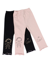 Ultra Soft Kids'Cotton Capri Cute Girl 2 Pack Pink/Black 2T