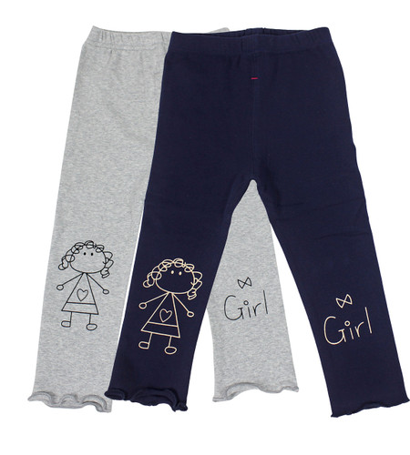 Ultra Soft Kids'Cotton Capri Cute Girl 2 Pack Grey/Navy 3T