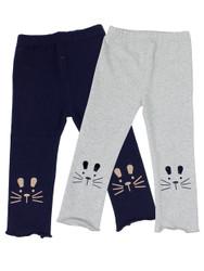Ultra Soft Kids'Cotton Capri Kitty 2 Pack Grey/Navy 2T