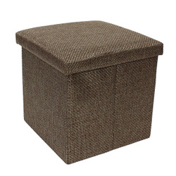 coffee brown fabric ottoman storage box foldable
