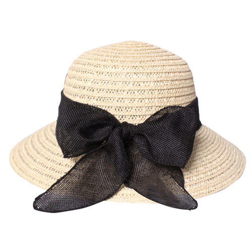 Cute Straw Hat with Bow Beige