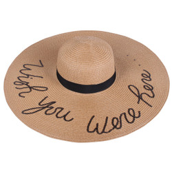 Sequined Large Floppy Straw Hat Wish you were here Khaki