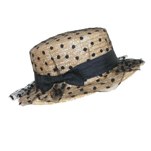 Designer Style Polka Dot Tulle Straw Hat