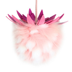 "Super Soft Mink Fur Fruit Charm 6"" Pink White"