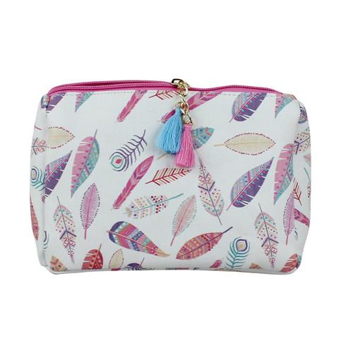 Pink Feather Print Multiuse Bag Tassels