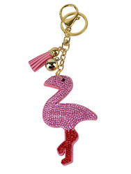 Pink Flamingo Rhinestone Key Chain with Padded Felt Backing