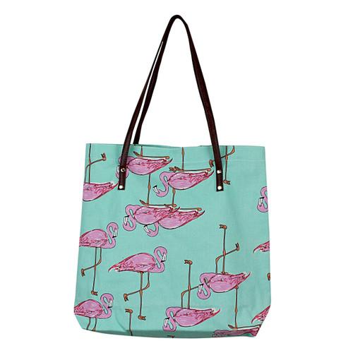 Flamingo Durable Canvas Tote Green Bag