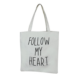 Follow My Heart White Canvas Tote Bag