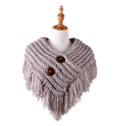 Cable Knit Button Collar Scarf Grey Pink