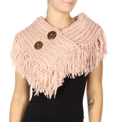 Cable Knit Button Collar Scarf Rose Pink