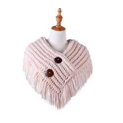 Cable Knit Button Collar Scarf White and Pink