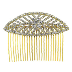 Leaf Hair Comb Crytals Gold