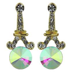 Eiffel Tower Crystal Post Earrings AB