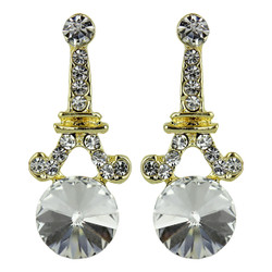 Eiffel Tower Crystal Post Earrings Clear