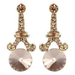 Eiffel Tower Crystal Post Earrings Rose Gold