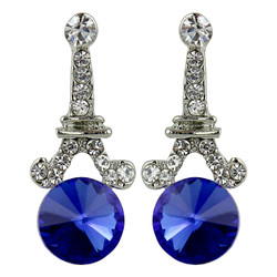 Eiffel Tower Crystal Post Earrings Sapphire