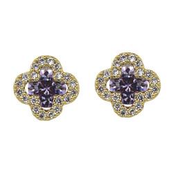 Cubic Zirconia Flower Stud Earrings Silver Post Lavender