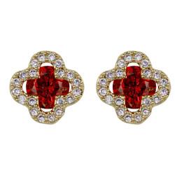 Cubic Zirconia Flower Stud Earrings Silver Post Red