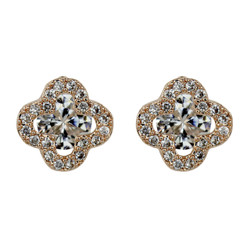 Cubic Zirconia Flower Stud Earrings Silver Post Rose Gold
