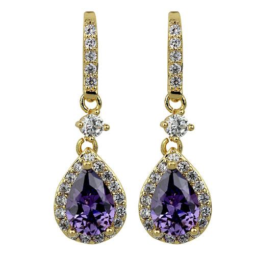 Cubic Zirconia Teardrop Earrings Lavender