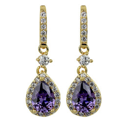 Cubic Zirconia Teardrop Earrings Lavender