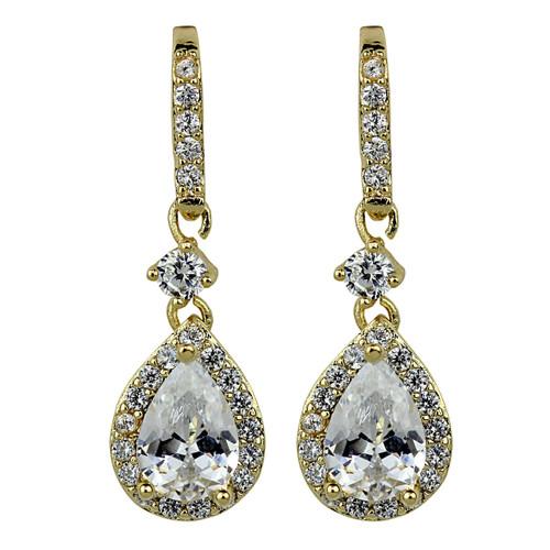 Cubic Zirconia Teardrop Earrings Gold
