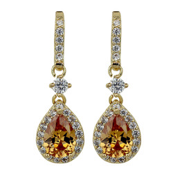 Cubic Zirconia Teardrop Earrings Citrine