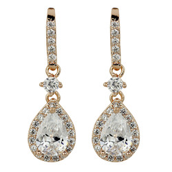 Cubic Zirconia Teardrop Earrings Rose Gold