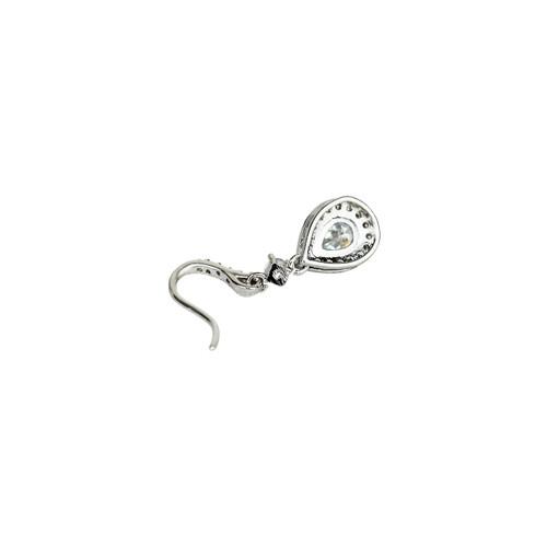Cubic Zirconia Teardrop Earrings Silver