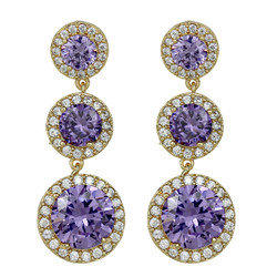 Cubic Zirconia Three Tier Circle Dangle Earrings Silver Post Lavender