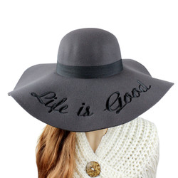 Embroidered Life is Good Wide Brim Floppy Felt Hat Grey