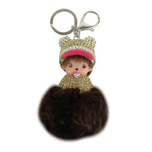 Jeweled Doll Pom Pom Purse Charm Brown