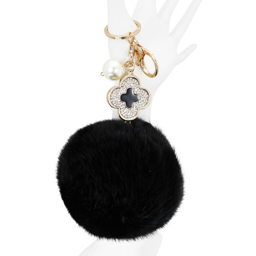 Designer Monogram Flower Pom Pom Purse Charm Black