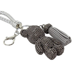 Teddy Bear and Tassel Purse Charm Braided Strap Grey