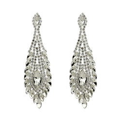 Peacock Feather Chandelier Earrings Cubic Zirconia and Rhinestones Clear