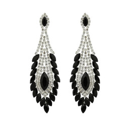 Peacock Feather Chandelier Earrings Cubic Zirconia and Rhinestones Black