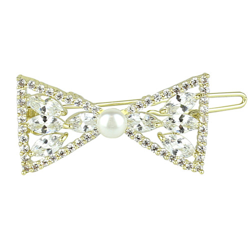 Bow and Faux Pearl Hair Clip Cubic Zirconia Gold
