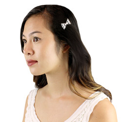 Bow and Faux Pearl Hair Clip Cubic Zirconia Silver
