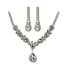 Victorian Style Cubic Zirconia Necklace Earrings Set Silver