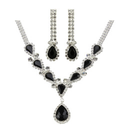 Victorian Style Cubic Zirconia Necklace Earrings Set Black